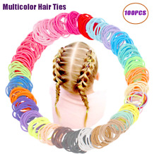 New listing 100Pcs Multicolor Girls Hair Ties No Crease Hair Bands Elastics Ponytail Holders