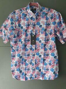 Fynch-Hatton short sleeve shirt. Thistle big flower. Large or XL. New.