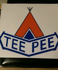 "Teepee vintage travel trailer decal reproduction 13""wide"
