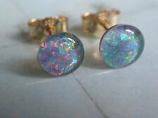 Opal Ohrstecker Gold 333,kleine Ohrstecker Gold 333 mit Opal Triplette 7 mm rund