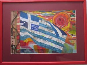 Collage Artwork Greek Flag (Greece), Well Made, Renowned Derbyshire Artist. LOOK