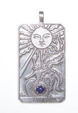 The Sun Tarot Card Pendant .925 Sterling Silver w/ natural gemstone choice