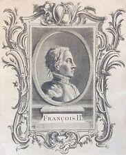 Très rare estampe originale de François II XVIIIe anonyme Roi King France