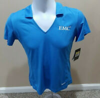 "Nike Golf Womens Short Sleeve Shirt Dri-fit Blue Size S EMC Logo NWT ""FREE SHIP"""