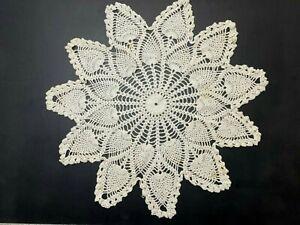 "Large Vintage Handmade Crochet Doily Dresser Scarf Measures 25"" Across  #71"