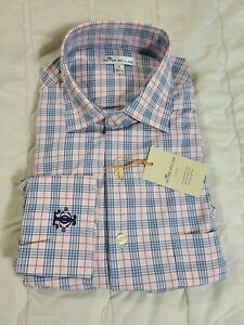 1 NWT PETER MILLAR MEN'S SHIRT, SIZE: MEDIUM, COLOR: PINK/BLUE PLAID (J66)
