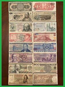 LOT 8 MEXICO PESO BANKNOTES SERIES 1,5,10,20,50,100,500,1000 BDM MEXICO BILLS