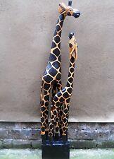 NEW DESIGN WOODEN Figure TWO GIRAFFES on ONE BASE 100 cm  1.5 kg Home Decor