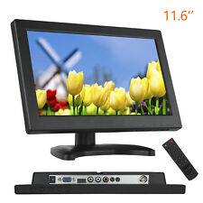 "11.6"" 1366X768 Video Audio HDMI VGA AV Monitor Screen W/ Remote For PC CCTV Cam"