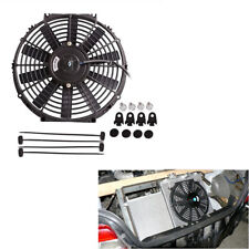 "12"" Electric Plastic Slim Cooling Fan Radiator 80W 10 Blades with Mounting Kit"
