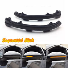 Smoked Side Mirror Sequential Blink Turn Signal Lights For 15-up VW MK7 Golf GTI