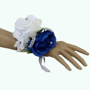 Wrist Corsage - Two Rose Corsage - Pick 1 Color Rose - Prom Wedding Faux Flowers