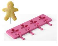 Silikomart-Easy Pop: stampi silicone per 4 lollipop gingerman.soggetto Natale