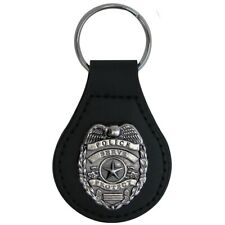 Silver Police Badge Leather Car Keyfob Truck Key Ring Chain Fob Keyring Keychain
