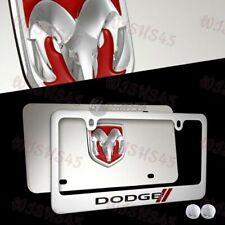 2pcs DODGE STRIPES 3D Mirror Stainless Steel License Plate Frame - FRONT & BACK