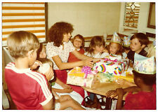 Vintage 80s PHOTO Young Woman Girls & Boys Opening Birthday Gifts In McDonald's