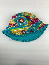 Koala Kids Girls Sun Hat Turquoise Blue with Multi Color Flowers18-14 months /2T