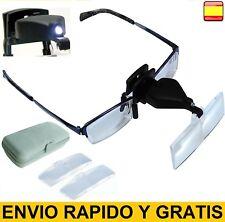 Lupa para Gafas con Luz Led tipo pinza 3 MEDIDAS de aumento DIFERENTES INCLUIDO