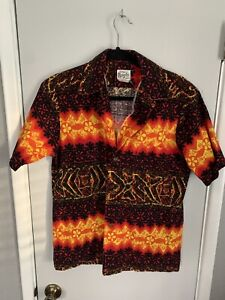 Vintage Evelyn Margolis Mens Orange Red Black Barkcloth Hawaii  Shirt Medium