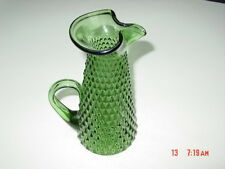 Vintage Emerald Green Diamond Point Pitcher Indiana Glass ? Formed Pour Spout