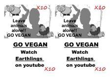 X40 VEGAN STICKERS - ANIMAL PROTECTION - VEG - VEGETARIAN - ALF - ACTIVISM