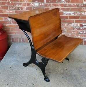 Antique Child's School Desk Oak Wood & Black Cast Iron #4