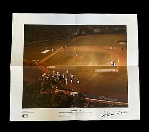 Hall of Fame Hank Aaron Braves Autographed Lithograph of MLB HomeRun # 715