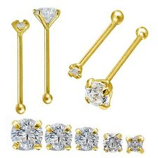 14k Yellow Gold or White Gold 24g Bone Nose Ring with Prong Set Round CZ 1-3 MM