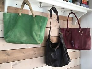 3 x Designer Leather Vintage BARNEYS NEW YORK / GAP Women's Handbags Boho Bucket