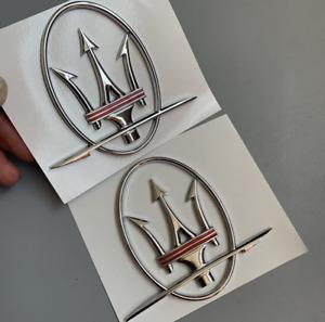 Pair Quarterpanel Sliver- Red Logo Emblem Badge Fit Maserati Ghibli Good quality