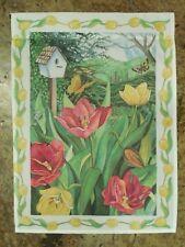 New listing Spring Tulip Flowers in a Garden with Ferns & Birdhouse decorative Garden Flag