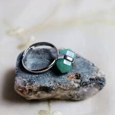 100% Genuine Handmade  Natural Green Agate Gemstone Silver Adjustable Rings