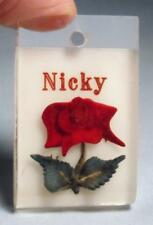 """Vintage Reverse Carved Red Rose w/ Green Leaves Lucite """"Nicky"""" Pendant    ...#18"""