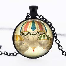 Hot Air Balloon Black Glass Cabochon Necklace chain Pendant Wholesale