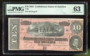 1864 $10 T-68 Confederate States of America PCGS 63 Pinholes