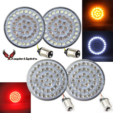 """Eagle Lights 2"""" LED Turn Signals Harley Front 1157 Rear Red 1156 w/Smoked Lenses"""