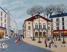 """Gabriel Donnet """" Le Théâtre de Montmartre """" Tableau naïf original"""