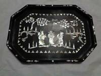 antique asian wood tray abalone shell or mother of pearl inlay vintage  *READ F4