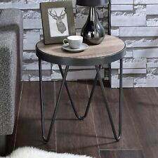 Industrial Round End Chair Side Table Wooden Top Metal Trim V Leg Weathered Gray