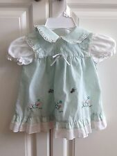 Vintage Baby Girl Dress 14-18  Lace Cotton Butterflies Soft Green