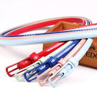 Women Girl Thin Skinny Waist Belt Patent Leather Narrow Dress Waistband Strap US