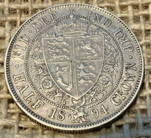 1894 Victorian Silver Half Crown 0.9250 VF