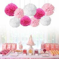 9PCS Mixed Paper PomPom Flower Ball Tissue Birthday Wedding Party Hanging Decor