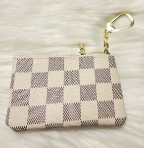 Beige Checkered Squared Striped  Coin Purse Key Chain  Holder Wallet Purse
