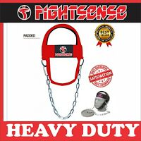 FS Head Neck Harness Strap Neck Support Dip Weight Lifting With Chain Red