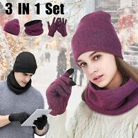 Winter Warm Knitted Scarf Touch Screen Gloves Beanie Slouchy Hat Set Men Women