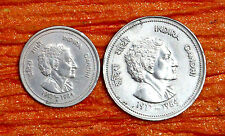 5 RUPEE AND 50 PAISE  INDIRA  GANDHI BIG AND SMALL ONE COIN IN FINE CONDITION