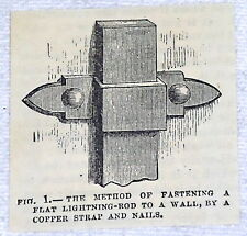 small 1882 magazine engraving ~ METHOD OF FASTENING FLAT LIGHTNING-ROD TO WALL