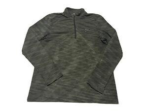 Under Armour Mens Threadborne 1/4 Zip Pullover HeatGear Green Light Vented M B1