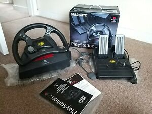 Sony Playstation 1 & 2 Mad Catz Steering Wheel & Foot Pedals SLEH-0005 Boxed VGC
